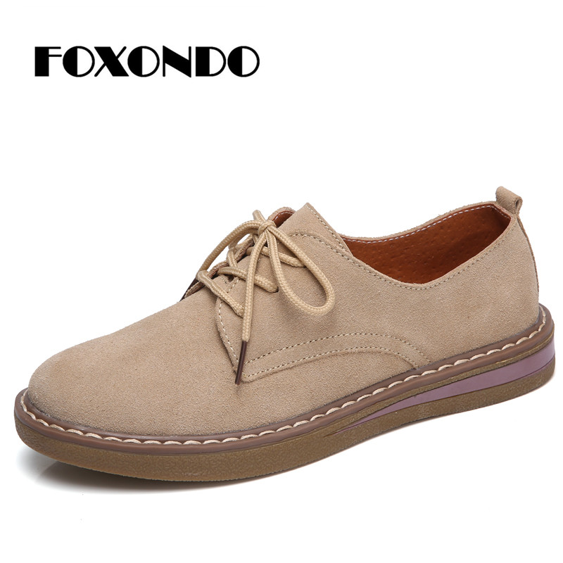 FOXONDO 2019 Autumn women sneakers oxford shoes flats shoes women   leather     suede   lace up boat shoes round toe flats moccasins