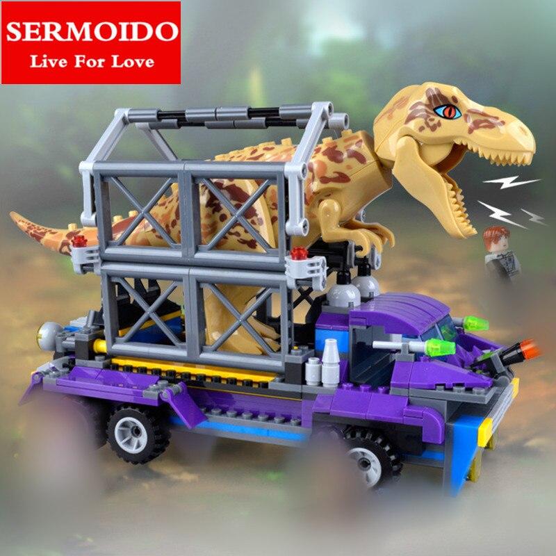 SERMOIDO Jurassic World Park Raptor Escape Building Blocks Kits Sets Hoskins dinosaur Compatible With Decool B27 sermoido lele 400pcs bela 79180 jurassic world park raptor escape building blocks kits sets hoskins dinosaur compatible b315