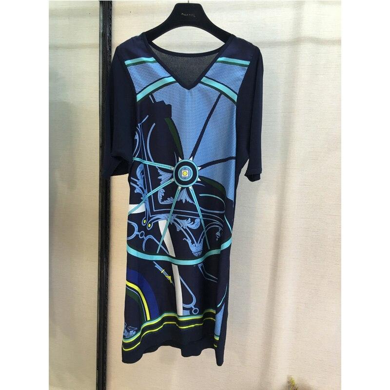 Silk geometric pattern printing dress splice wool V collar short sleeved dress