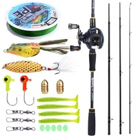 Sougayilang 2.1M Fishing Rod and Reel Combos Carbon Fiber Portable Casting Rod with Baitcasting Reel Kit Fishing Rod Set