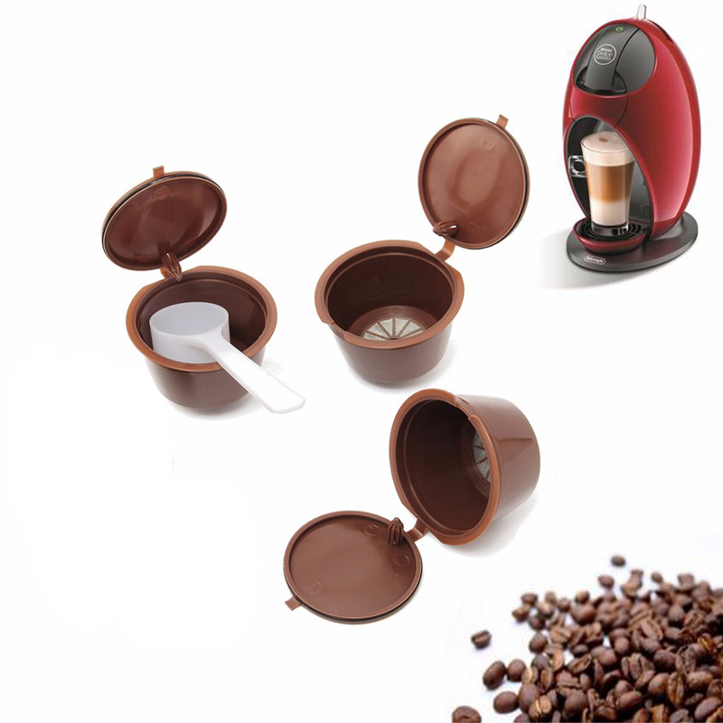 3pcs/pack Reusable Dolce Gusto Coffee Capsule Plastic Capsule Filter Cup Coffee Filter Baskets Soft Capsules Taste Sweet