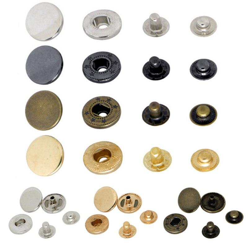 50 Sets Metal Snap Fastener Press Stud DIY Sew On Button for Jacket Coat Bag