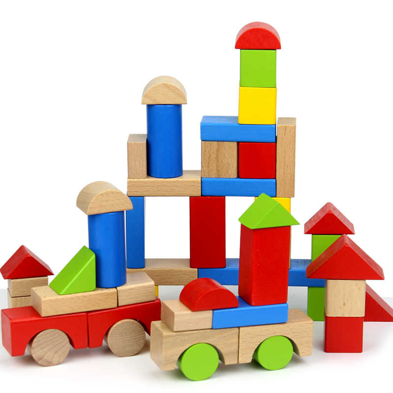 Baby Wooden Blocks Toys 50pcs Multicolored Geometric Assembling Building Block Beech Wood Learning Educational Unisex Toddlers