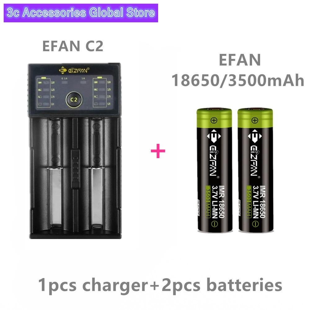 EIZFAN IMR 18650 batterie 3500 mAh 25A EFAN E Cigarette batterie pour Vaporesso Cigarette avec EFAN C2 usb led chargeur intelligent
