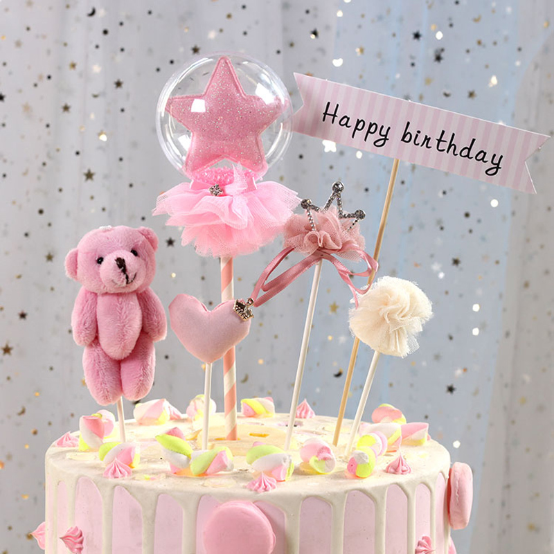 8d1528755d0f 1 pcs sweet love heart crown cake topper birthday cup cake decoration baby  shower kids birthday party wedding favor supplies