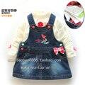 Free shipping Retail new 2014 spring autumn baby braces dresses girls cute denim dress baby suspender jean dress kids clothing