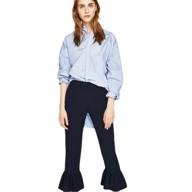 b6bb8a73d9 2017 Primavera Verano Nueva Moda Pantalones Mujeres Negro Sólido Pantalones  Acampanados Mediados Pantalones Flojos Ocasionales Para