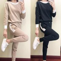 Autumn Winter New Fashion Two Piece Set Knitted Sweater Sportswear Women Tops Casual Sports Sweater Pants 2 Piece Suit Female