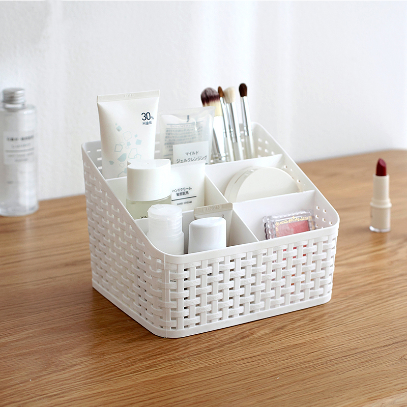 Multi-grid plastic box creative desktop makeup organize storage box cosmetic case remote control holder small objects Container 1