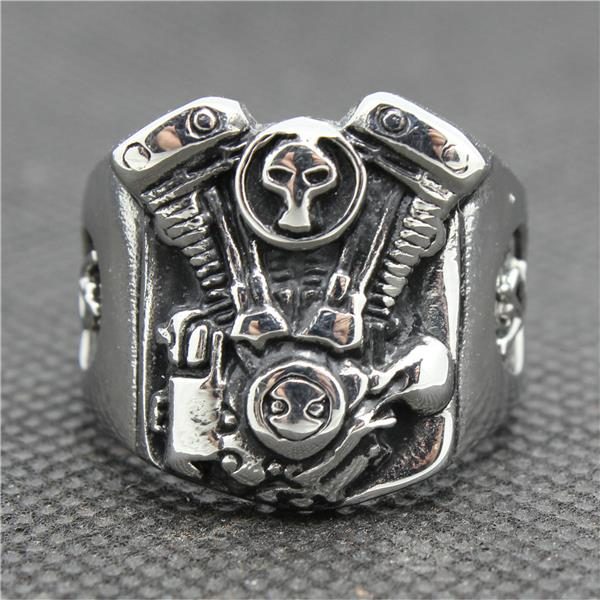 316L Stainless Steel Silver Engine Biker Ring Mens Motorcycle Engine Biker Ring Cool shiying jz014 men s stylish 316l stainless steel ring silver