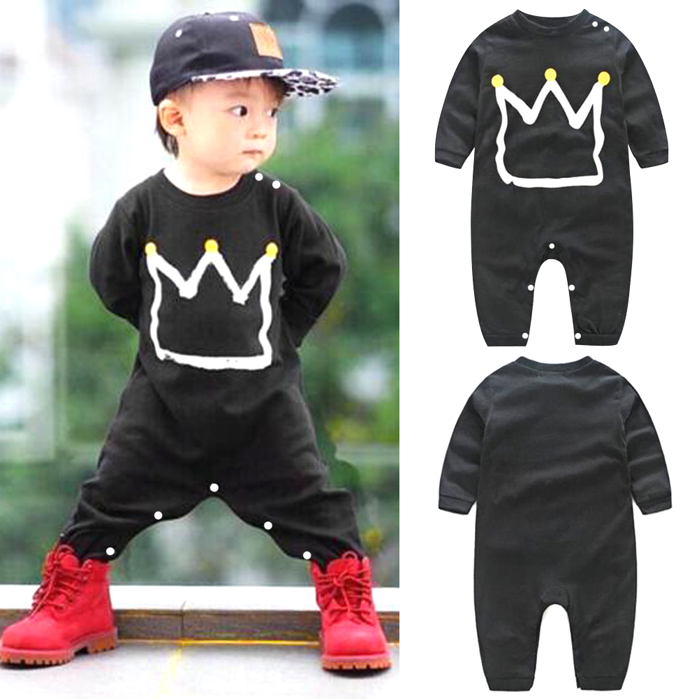 Newborn Autumn Winter Black Romper Toddler Kids Baby Boy Cotton Romper Jumpsuit Playsuit Clothing Outfit puseky 2017 infant romper baby boys girls jumpsuit newborn bebe clothing hooded toddler baby clothes cute panda romper costumes