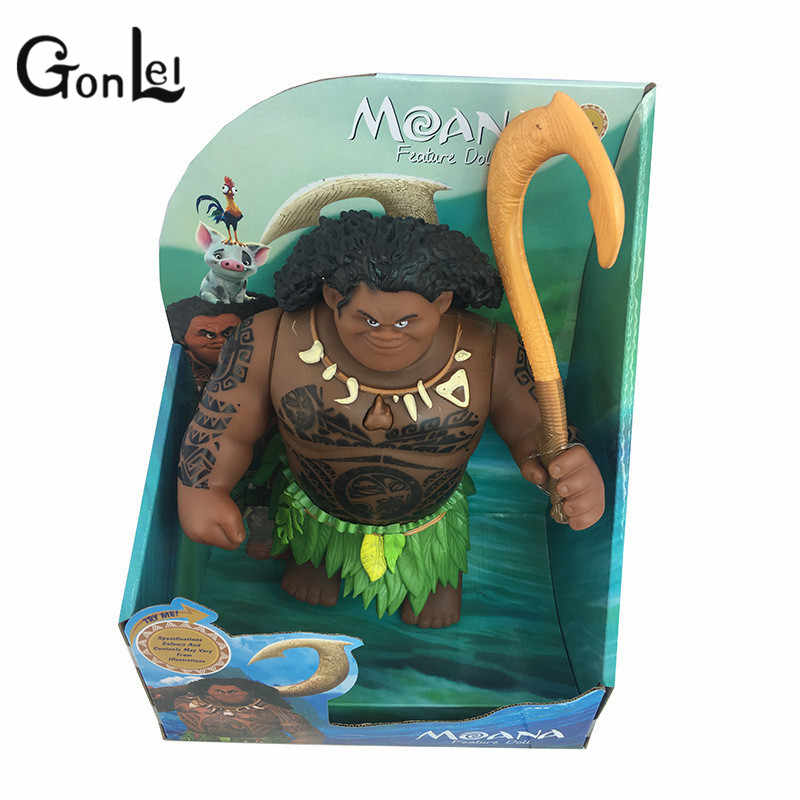 GonLeI 27cm Movie Moana Waialiki Maui Heihei Dolls Model With Music Action Figures Kids Lover Christmas Gift Children Toys
