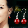 New High Quality Silver plated Earrings Red Black Agate Stud Earrings For Women Fashion Stone Long Jewelry