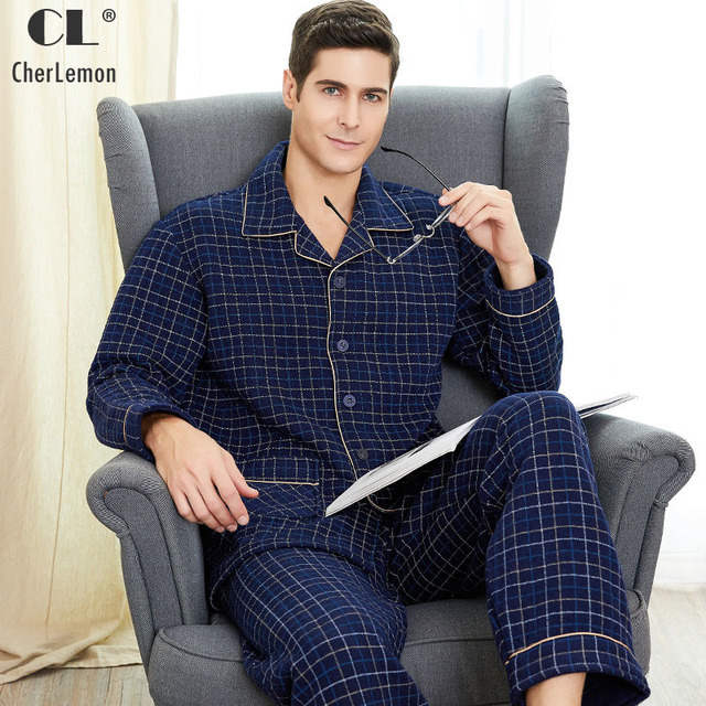 Cherlemon Новый Для мужчин плед зимняя утепленная теплая Хлопковая пижама комплект Classic Notch Collar с длинными рукавами домашняя одежда для мужчин M-4XL