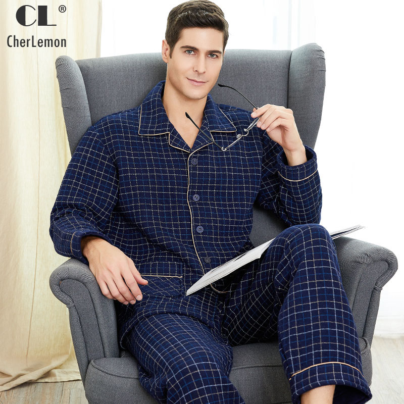 CherLemon New Men's Plaid Winter Thickened Warm Cotton Pajama Set Classic Notch Collar Long Sleeve Home Clothing For Male M-4XL