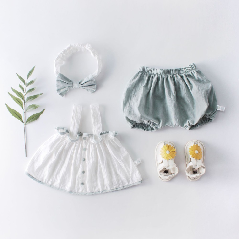 Baby Outfits Pants Tops Button Newborn Summer Roupa Sleeveless Suit Hair-Band Beautiful