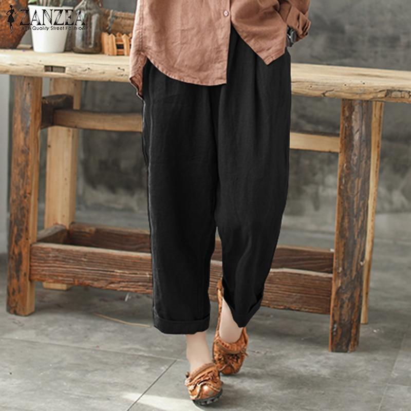 ZANZEA  Plus Size Women Cotton Linen Harem Pants 2018 Summer Casual Loose Pockets Wide Leg Trousers Baggy Turnip Long Pantalon