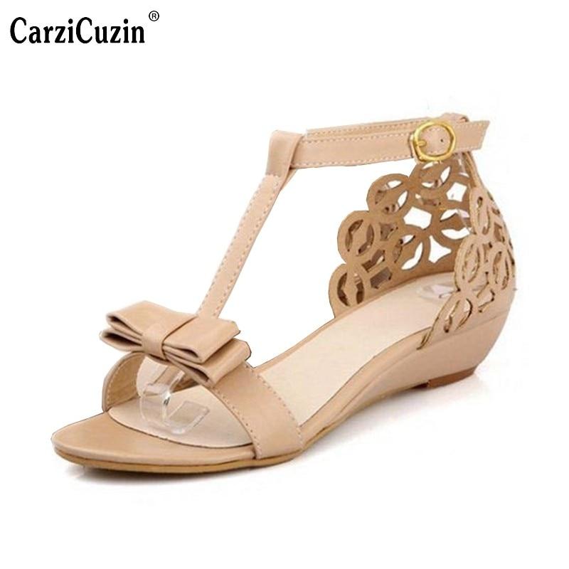 15f2f74b9 Large size 33-43 New arrival High quality Rhinestone Fretwork Buckle Strap  women Wedge sandals