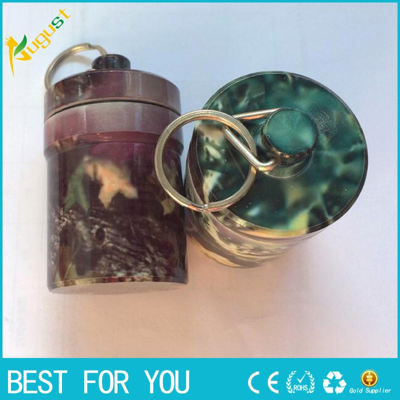 10pcs/lot Stash Pill box case medicine 48*80mm Storage Keychain Bottle Keyring metal Alu ...