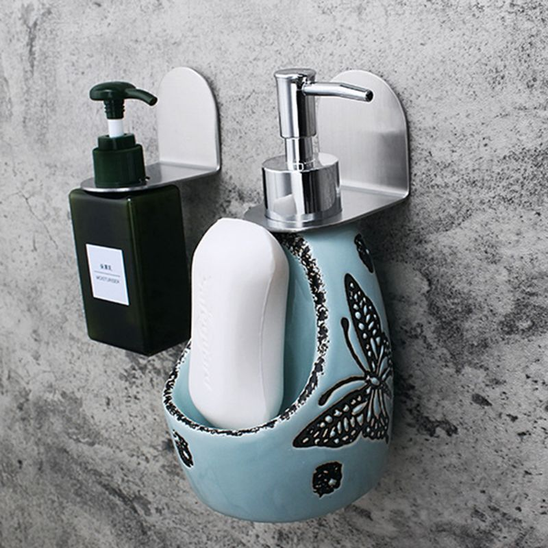 Stainless Steel Wall Mount Soap Shower Gel Dispenser Bottle Holder Hook Hanging Hanger Rack Bathroom Kitchen Organizer No Dril