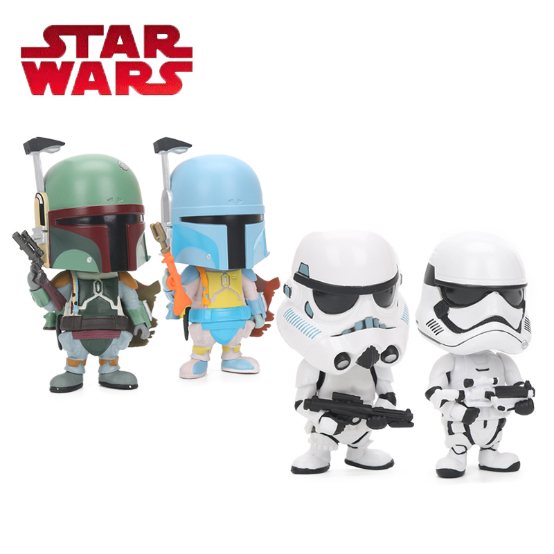 10cm Star Wars Toy Q Edition Boba Fett Yoda Darth Vader Stormtrooper PVC Action Figure Bobble Head Star Wars Figure Model Toys movie figure 16 cm star wars revo 005 boba fett pvc action figure collectible model toy brinquedos christmas gift