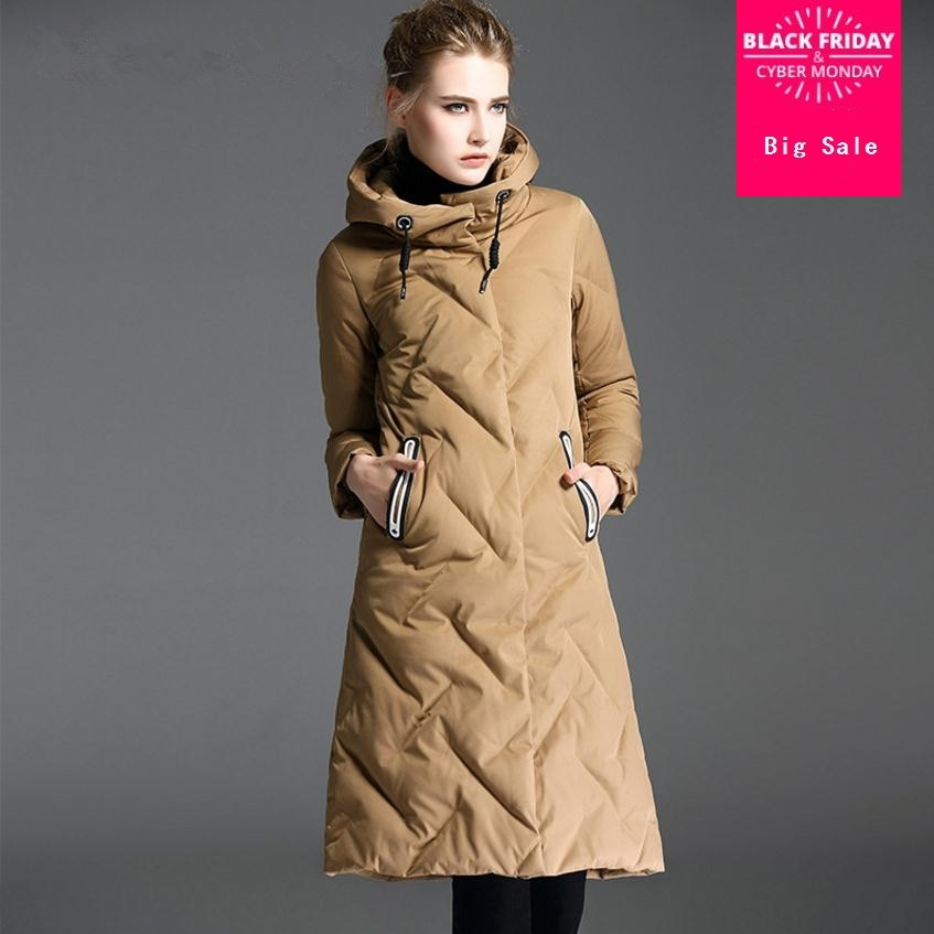 2019 fashion brand real White duck   down   warm thicker parkas   coat   female with hooded slim thicker   down     coat   jacket wq560