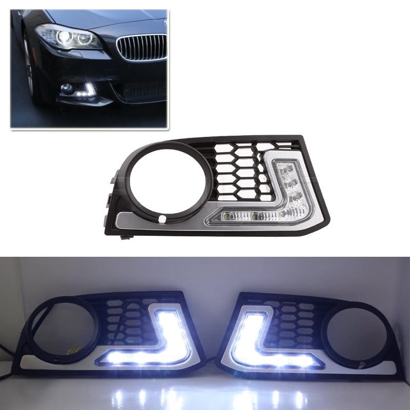 Set Specific Led Daytime Running Lights Kits DRL For Bmw 5 Series F10 M-Tech 2005-2008 Multi-Function 30% 50% 75% Dimmable DRL led drl daytime running fog lights with pole for bmw 5 series f10 10 m tech m technik daylight fog led head lamp
