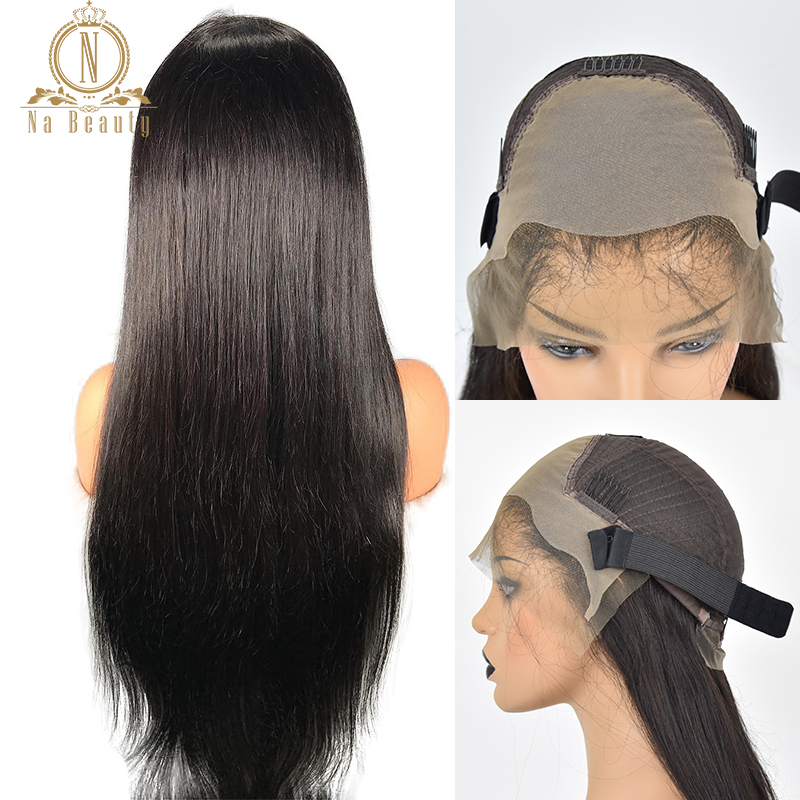 Fake Scalp Wig 13x6 Lace Front Invisible Knot Wig Bleached Knots Pre Plucked Straight Human Hair Lace Wig  Brazilian Remy Hair