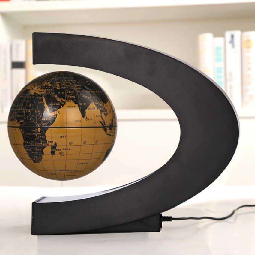 C Shape Magnetic Levitation Globe Floating World Map LED Light Terrestrial Children Educatioanl Toys Home Office Decor