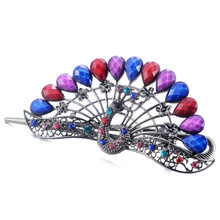 Fashion Peacock Crystal Hair Claws Vintage Women Jewelry Colorful Resin Big Clip Cute Girl Ornaments