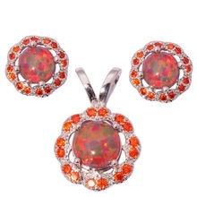 Orange Fire Opal Orange Garnet Silver Wholesale Retail New Style for Women Jewelry Pendant Stud Earrings Jewelry Set OT92