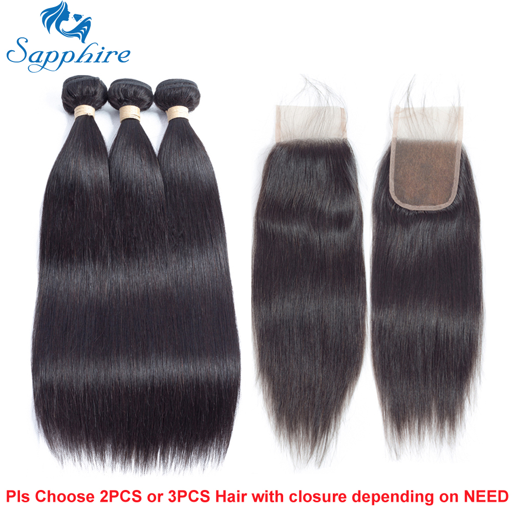 Sapphire Unprocessed Brazilian Straight Virgin Hair 3 Bundles With Closure Brazilian Human Hair With Lace Closure