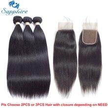 Сапфир необработанные бразильские Прямые локоны 3 Связки с Накладные волосы бразильский Человеческие волосы с Синтетические волосы на кружеве для волос Salon