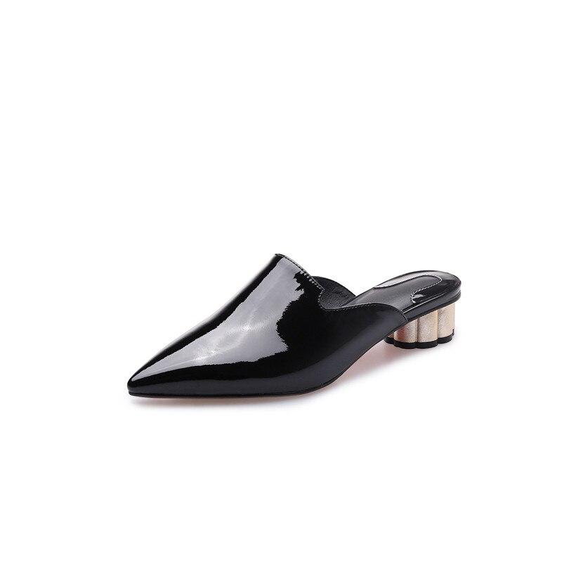 MEMUNIA 2019 nouveauté femmes pompes solide couleurs chaussures en cuir véritable bout pointu été mules chaussures femme fête chaussures-in Escarpins femme from Chaussures    3