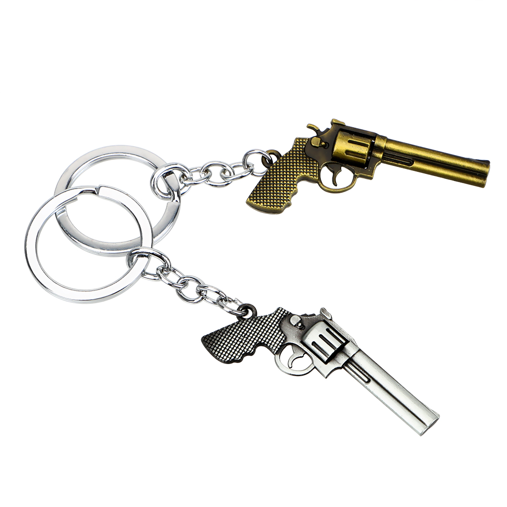 Auto Keyfob  Zinc alloy Toy Gun Key Chain Pistol Model Keychain  Car Styling Revolver Key Rings Cool Purse Bag Pendants revolver
