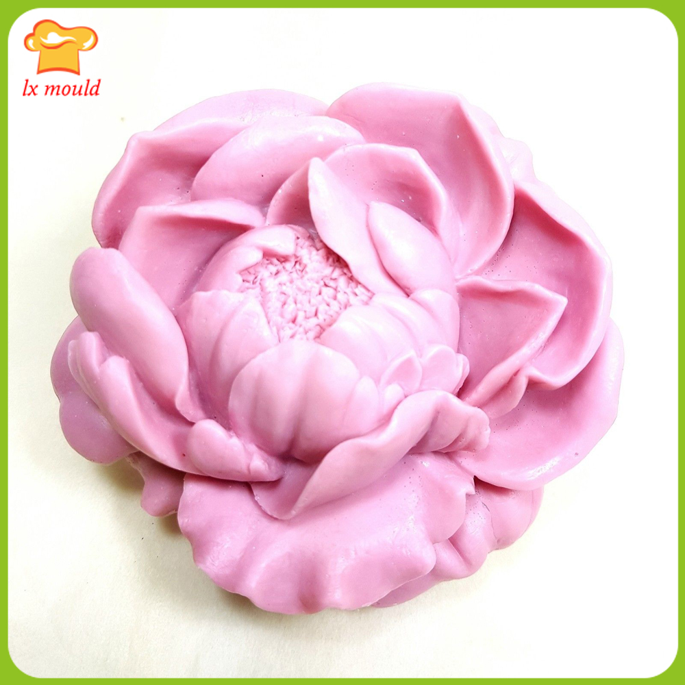 Silicone Mold Blossoming Peony 3D Candle Soap Plaster Mold 2 parts asse mbled mold