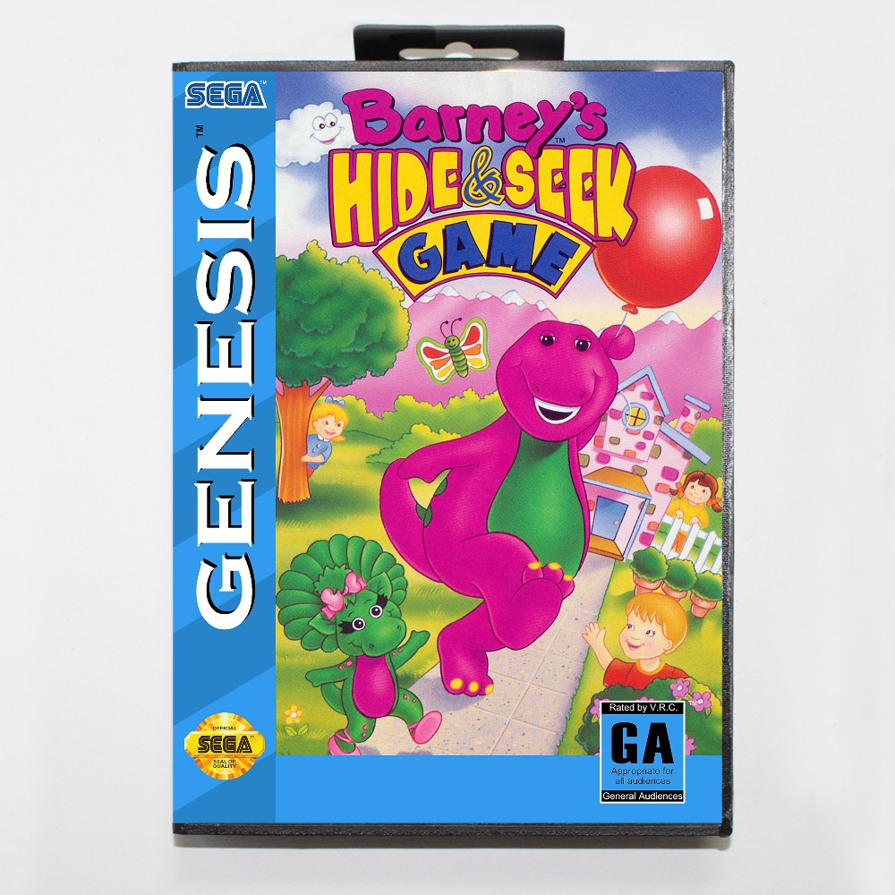 New 16 bit MD game card - barneys hide and seek game with Retail box For Sega genesis system
