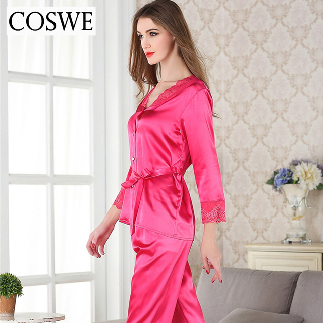 Pajamas For Women Single-breasted Button Female Pajama Sets Lace Sexy Women Pajama Spring V-Neck