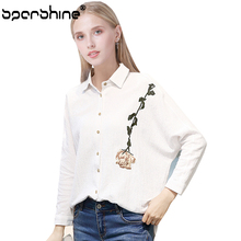 SPARSHINE Rose Embroidery White Blouse Women Shirt Long Sleeve Floral Blouses Office Shirts Female Blusas Mujer De Moda 2017 Top