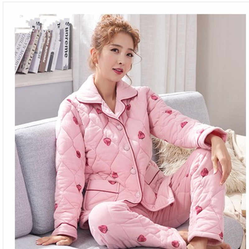 2017 Winter Pajama Sets For Women Cotton Print Thick Warm Pajamas Girls  Long Pants Sleepwear Home b3bcee440