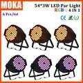 6 unids/lote 2016 par luz led 54*3 w efecto mágico disco iluminación rgbw 4in1 color mezcla de luces de escenario