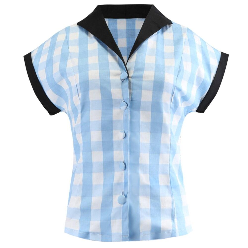 Estilo Vintage Sin Kenancy Solapa Top Mujeres Plaid Estampado 2018 Fly Camisas Diseño Elegante Blue Mangas Blusa Retro Azul Verano Botón 5XXq7E