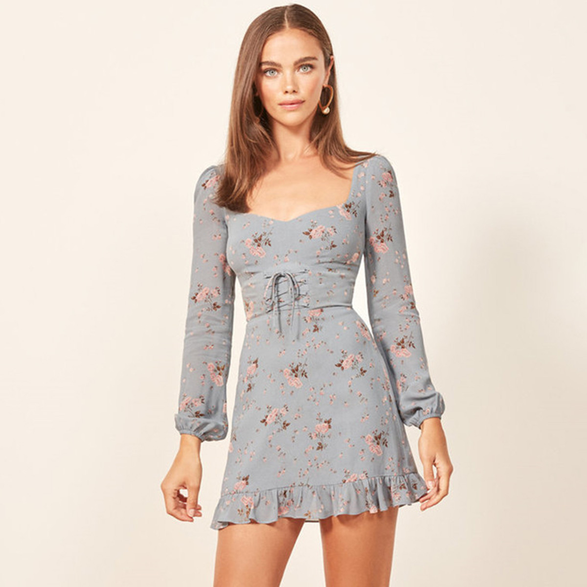 Floral Print Retro Mini <font><b>Dress</b></font> <font><b>Women</b></font> <font><b>2018</b></font> Autumn <font><b>Summer</b></font> Long Sleeve Backless <font><b>Sexy</b></font> Short <font><b>Dress</b></font> Ladies <font><b>Boho</b></font> Hippie Party <font><b>Dresses</b></font> image