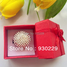 Wholesale Luxury Big Size Rhinestone Crystal Ball Elegant Finger Ring Rings Fashion Jewelry With Gift Box for Woman