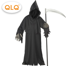 Alta qualidade grim reaper traje com chapéu máscaras esqueleto mãos trajes adultos homens halloween cosplay trajes esqueleto
