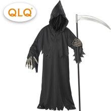 คุณภาพสูงGrim Reaperเครื่องแต่งกายด้วยหมวกหน้ากากโครงกระดูกเครื่องแต่งกายผู้ใหญ่ผู้ชายHalloween COSPLAY Skeletonเครื่องแต่งกาย