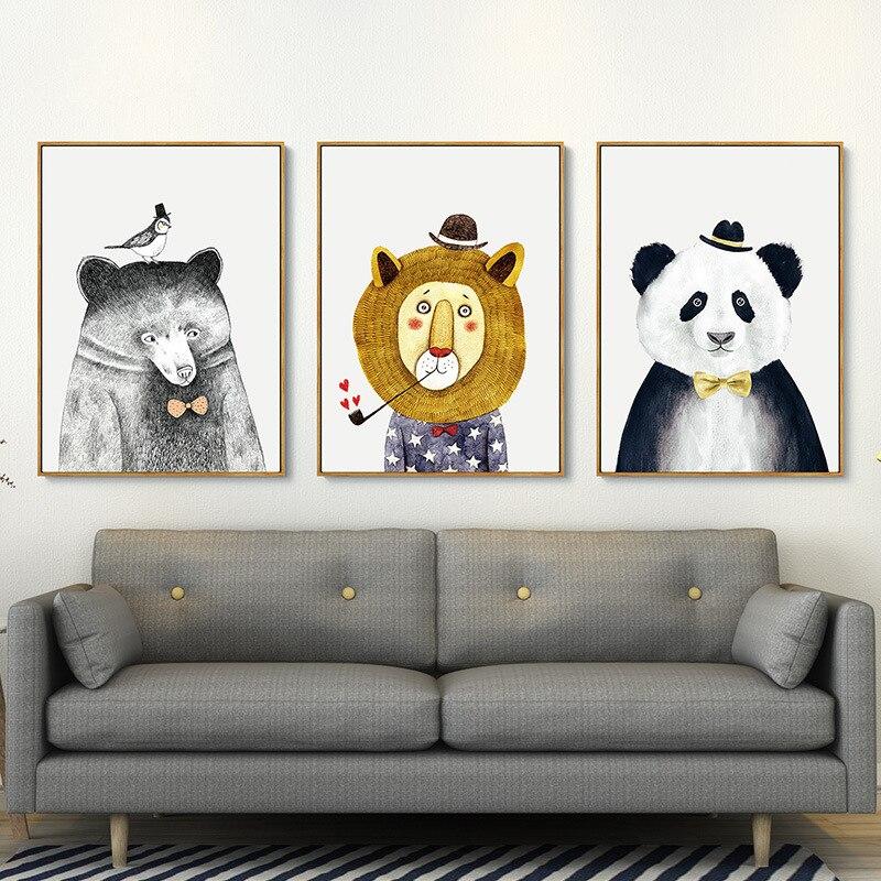 Belle impression animale Style 3 pièces/ensemble cadre Photo tenture murale cadres Photo ensemble décor à la maison cadres Photo porta retrato moldura