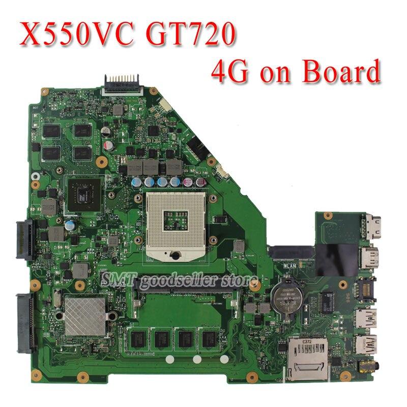 For Asus X550V R510V Laptop Motherboard X550VC REV3.0 NVidia GeForce GT720M 2G Ram 4G memory on board Pga 989 HM76 fully tested laptop motherboard for asus n43sl n43sl rev 2 0 hm65 nvidia n12p gt a1 ddr3