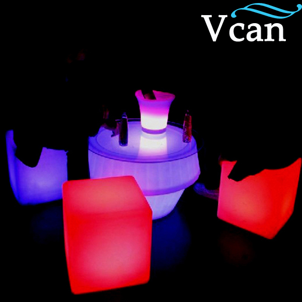 Wireless Outdoor LED Plastic Cube Chair for bar as furnitureVC-A300 led cube chair outdoor furniture plastic white blue red 16coours change flash control by remote led cube seat lighting
