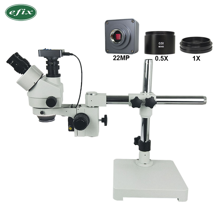 efix 3 5 45X 22MP Simul Focal Trinocular Microscope Single Boom Stand HDMI USB Camera Soldering